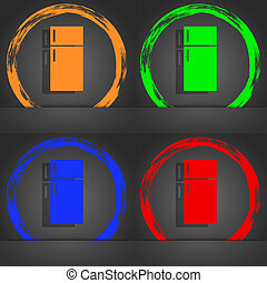 Refrigerator icon sign. Fashionable modern style. In the orange, green, blue, red design.
