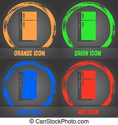 Refrigerator icon sign. Fashionable modern style. In the orange, green, blue, red design. Vector