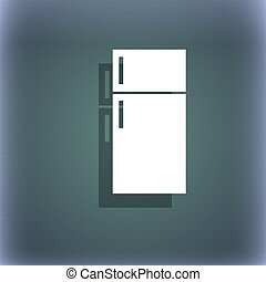 Refrigerator icon sign. On the blue-green abstract background with shadow and space for your text.