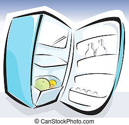 Illustration of a opened refrigerator