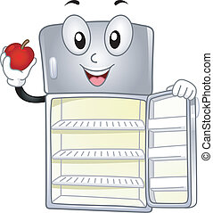Mascot Illustration Featuring a Refrigerator Holding an Apple