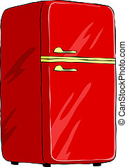 Refrigerator on a white background, vector illustration