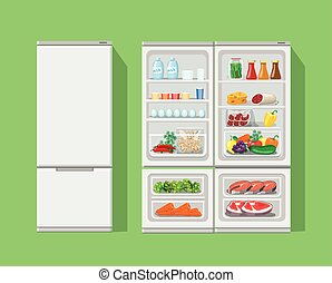 Refrigerator opened with food. Fridge Open and Closed, foods set