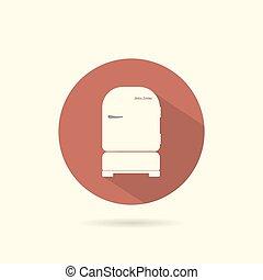 Refrigerator round flat icon.