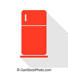Refrigerator sign illustration. Red icon with flat style ...