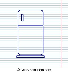 Refrigerator sign illustration. Vector. Navy line icon on notebook paper as background with red line for field.