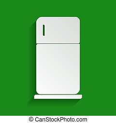 Refrigerator sign illustration. Vector. Paper whitish icon with soft shadow on green background.