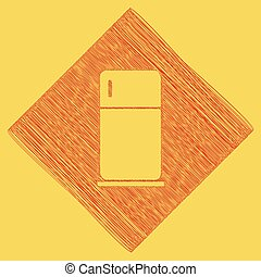 Refrigerator sign illustration. Vector. Red scribble icon obtained as a result of subtraction rhomb and path. Royal yellow background.