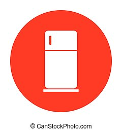 Refrigerator sign illustration. White icon on red circle.