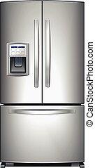Refrigerator vector - Domestic metallic refrigerator with...