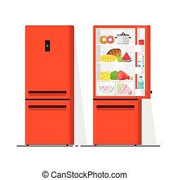 Refrigerator vector illustration, flat cartoon open and closed fridge, refrigerator full of food isolated