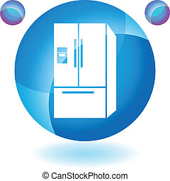 Refrigerator web button isolated on a background.