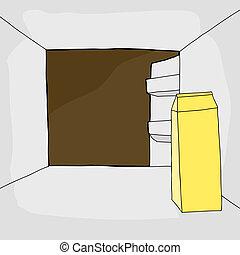 Refrigerator with Milk Carton
