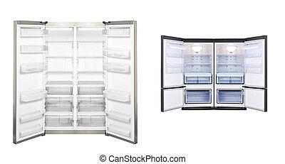 refrigerator with open door isolated