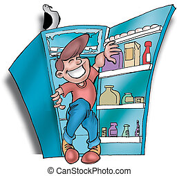 refrigerator02 - man in a refrigerator