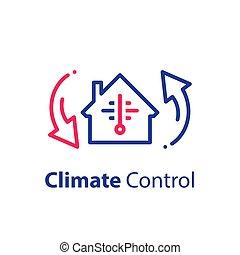 refroidissement, température, chauffage, climat, chambre maison, conditionnement, air, système, ou, changement, contrôle
