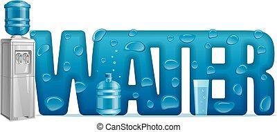 refroidisseur eau, naturel, lettre