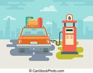 Refuel Car at Gas Station