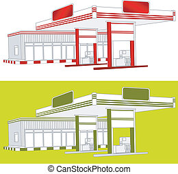 Refuel station - Illustration of red gas refuel station with...