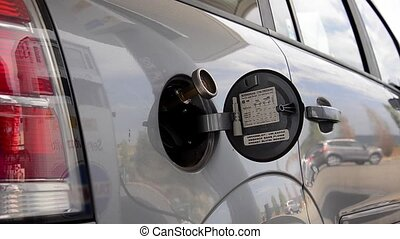 refueling car close up
