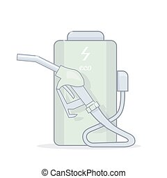 Refueling from the battery. Alternative energy.  Cartoon vector illustration.