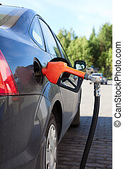 Refueling nozzle in the tank black car at fuel filling...