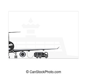 Refueling the plane on the airport. Vector illustration. EPS...