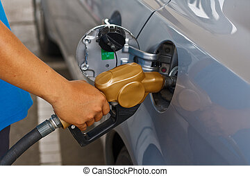 Refueling vehicles in petrol station to the car.