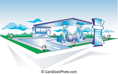 Refuelling - Landscape with filling station for cars, ...