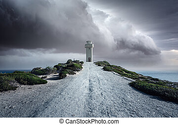 Refuge - A lighthouse standing tall in a storm