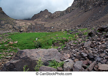 The mountain Refuge where trekkers stay before their summit attempt of Toubkal, 4186m, in Morocco