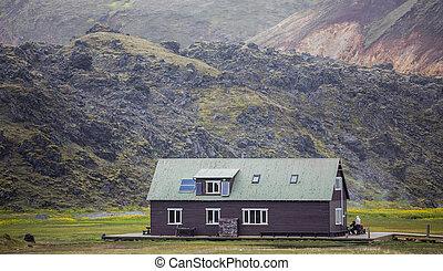 Refuge in the mountain, Landmannalaugar, Iceland - Tourists...