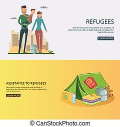 Refugee banner set concept vector illustration