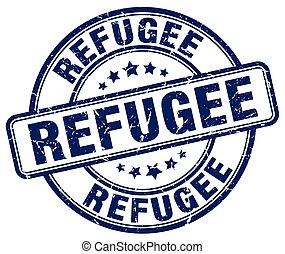 refugee blue grunge round vintage rubber stamp