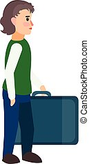 Refugee boy travel bag icon, flat style