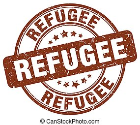 refugee brown grunge round vintage rubber stamp