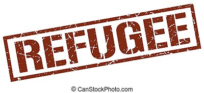 refugee brown grunge square vintage rubber stamp