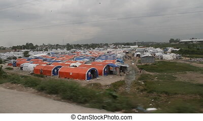 refugee camp tents in Port-au-Prince Haiti