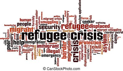 Refugee crisis word cloud concept. Vector illustration