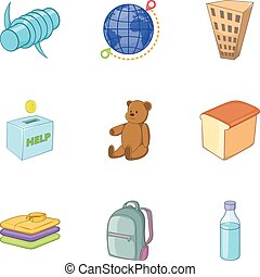 Refugee crisis icons set, cartoon style