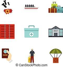 Refugee icons set, flat style