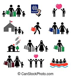 Refugee, immigrants, families - Refugee family vector icons...