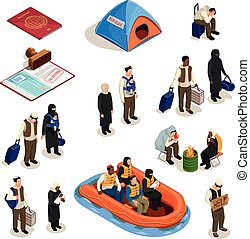 Refugee Isometric Icons Set