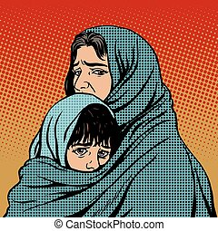 Refugee mother and child migration poverty. Eastern family....