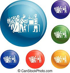 Refugee people take food icons set vector 6 color isolated...