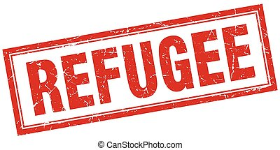 refugee red grunge square stamp on white