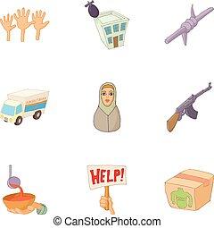 Refugee status icons set, cartoon style