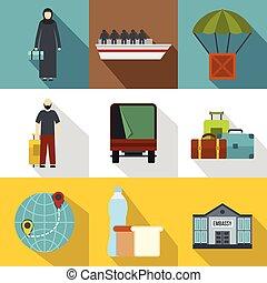 Refugee status icons set, flat style