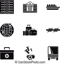 Refugee status icons set, simple style