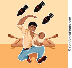 Vector image of a refugee which wants to save his baby from the war